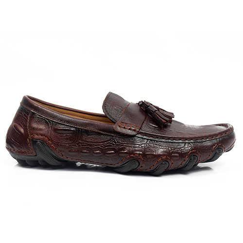 Giày Lười Da Bò Vân Cá Sấu TM79